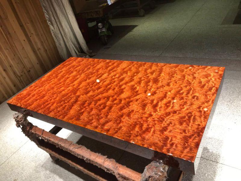 巴花大板桌,济南天桥区哥德温厂家直销558年树龄原木制造的简约现代巴花大板桌