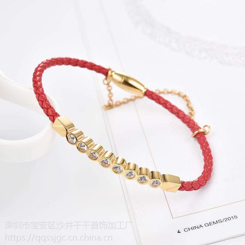 c'lect中国风简约合金高雅镀金手环手链风红色细带手链生日礼物
