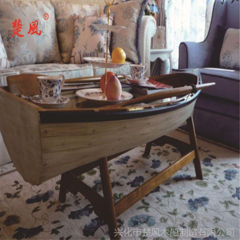 楚风出售纯手工制作欧式沙发木船 室内家居摆饰物品 两头尖装饰船 私人定制船