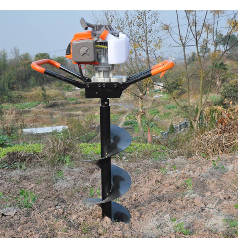 新款汽油便携式挖坑机 启航栽水泥电线杆打坑机 大棚埋桩钻洞机价格