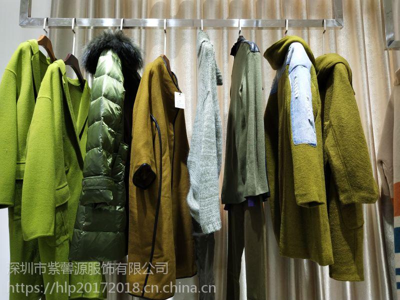 正品专柜品牌折扣女装货源 深圳品牌三淼 希色宽松型羊毛大衣 连衣裙走份批发