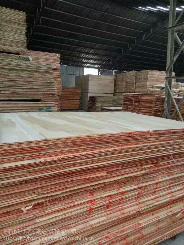 临沂胶合板厂家生产红色桃花心面E1胶水多层板包装板板面平整强度高
