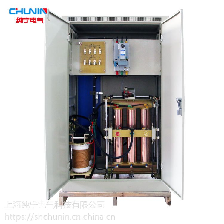 上海纯宁三相380V铜柱式电力补偿SBW-200KVA大功率滑动式交流稳压器