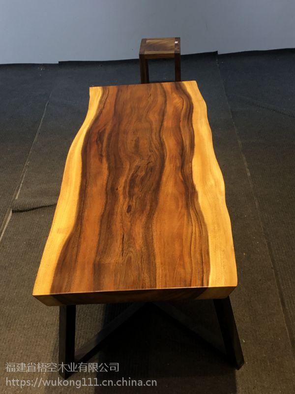 南美胡桃木实木大板桌简约北欧老板桌办公桌整块无拼接洽谈桌现货