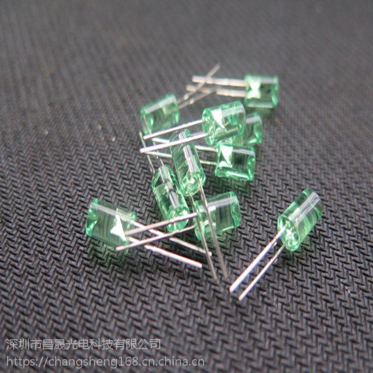 F5平头内凹绿光直插LED灯珠(发光二极管)