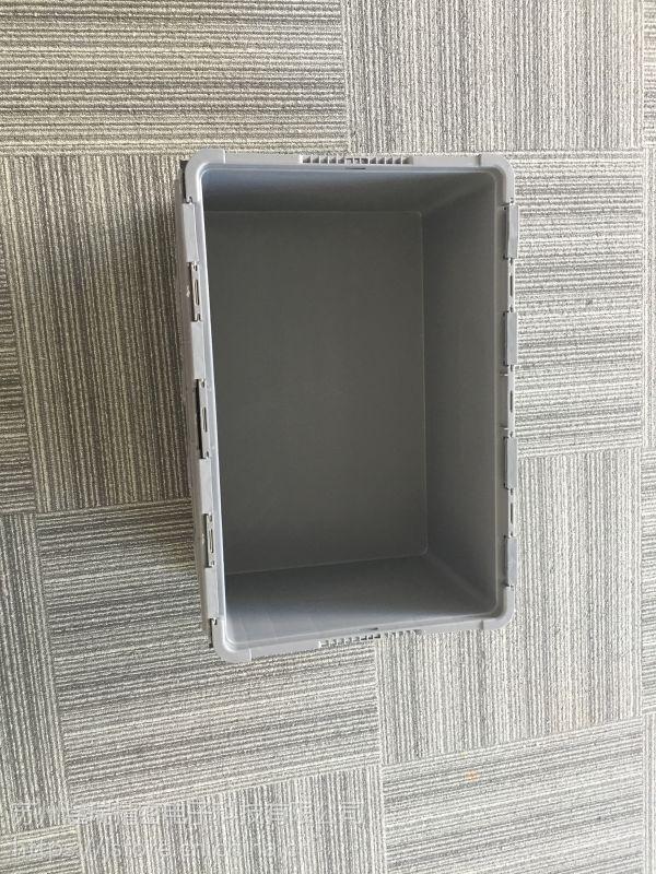 苏州滏瑞厂家供应灰色EU4628翻盖箱 可堆式周转箱可按需定制