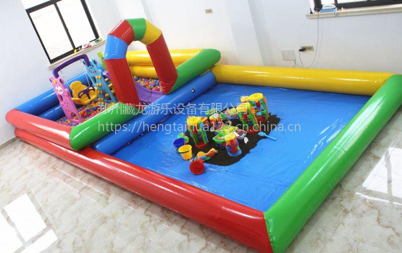 决明子充气玩沙池套餐 幼儿园玩沙子玩具秋千滑梯海洋球池 海洋球池图片