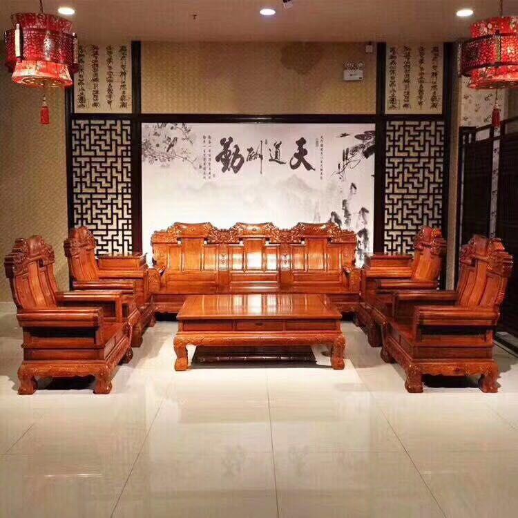 正品冈比亚 比绍刺猬紫檀中奔象头沙发名琢世家全国销售