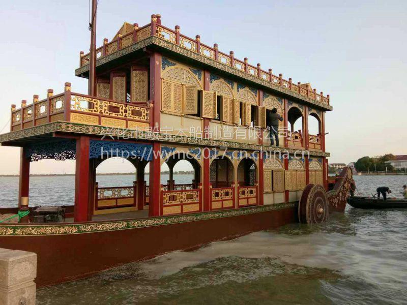 哪里有影视道具船 摄影观光船 仿古画舫游船 景区电动木船生产厂家