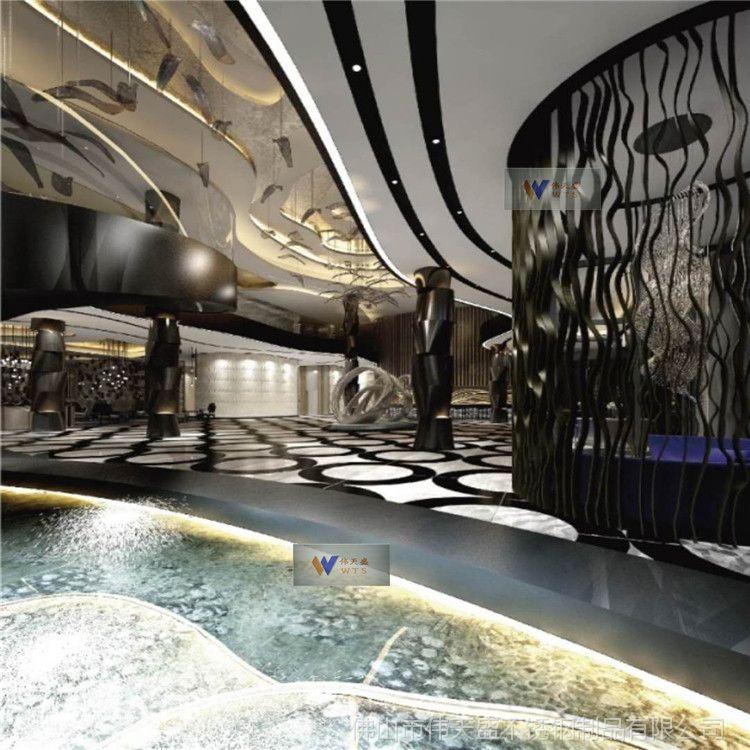 伟天盛供应西餐厅香槟色不锈钢隔断屏风雕花家庭不锈钢通花屏风