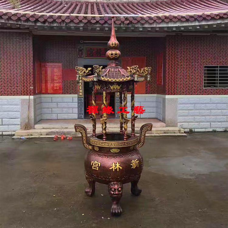 供应六龙柱圆形生铁铸造香炉大型宫观宗祠香炉厂家