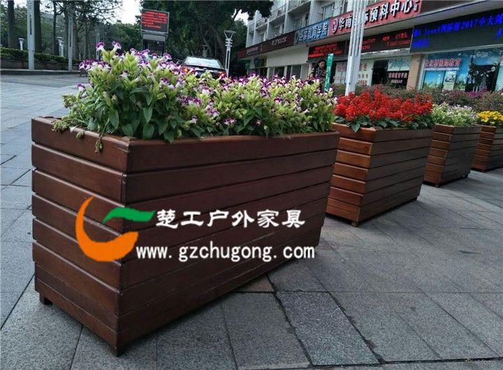 园林工程木质花盆,物业花园防腐木花箱,室外木花坛