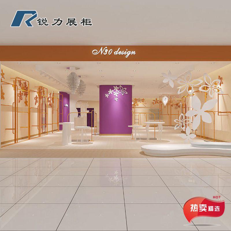 锐力展柜 直销女装靠墙陈列衣架 实木烤漆展示柜 品牌女装展柜玫瑰金工艺