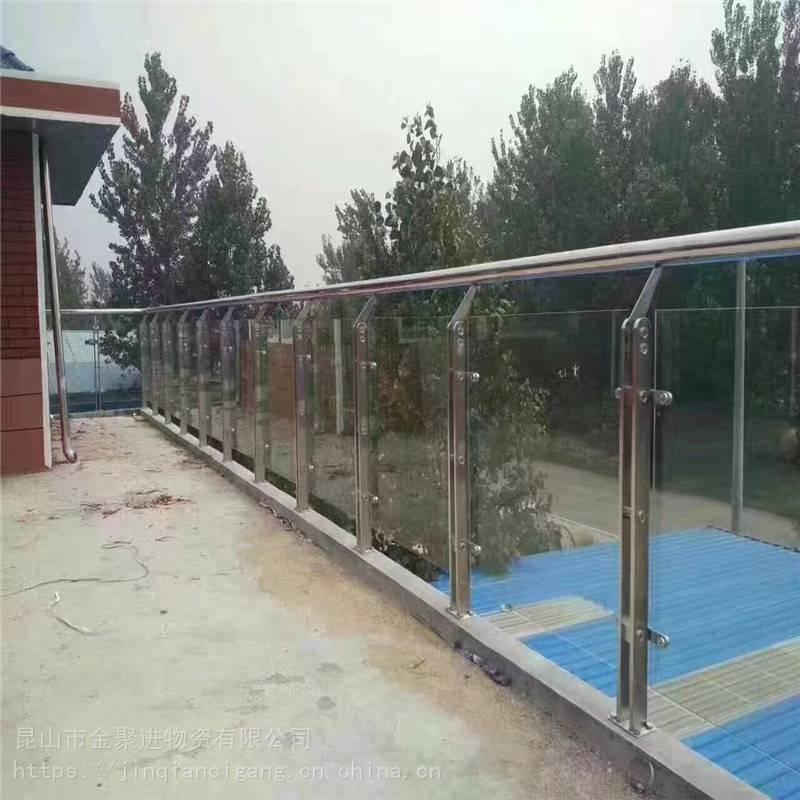 金聚进 304材质新款工程楼梯扶手栏杆扶栏阳台扁管玻璃不锈钢立柱AQ52E