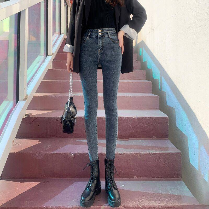 秋冬加厚牛仔裤高腰弹力小脚裤批发时尚韩版女装牛仔裤清仓低价清货处理