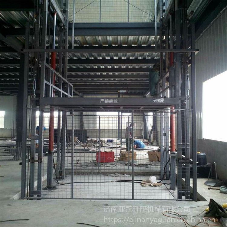 4吨载货电梯厂房简易货物升降机 大吨位固定导轨式液压升降平台