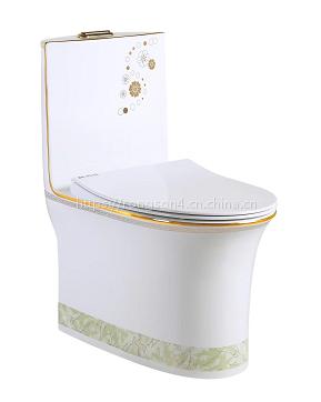 豪华陶瓷高档连体马桶座便器彩金4D坐厕