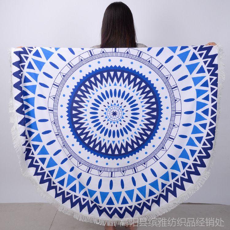 厂家直销现货欧美风超细纤维圆形沙滩巾加流苏 活性印花毯子披肩