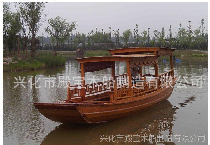 湖南木船 厂供应玻璃钢游船电动画舫船 公园景区观光船摇橹船批发