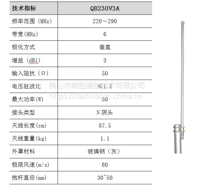 QB230V3A VHF/UHF 230MHz 频段集群通信天线