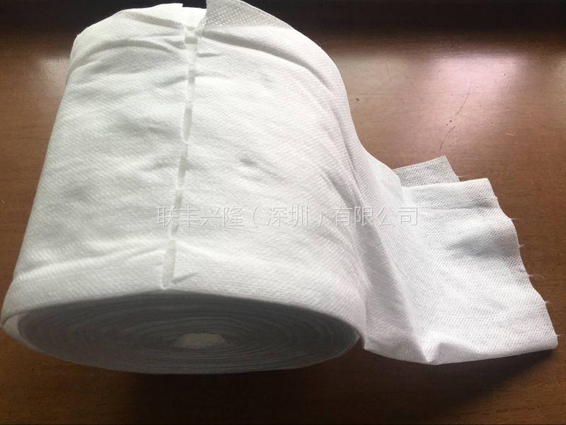 点断柔巾卷生产厂家 广东全棉水刺无纺布 交叉50g普白色棉柔巾