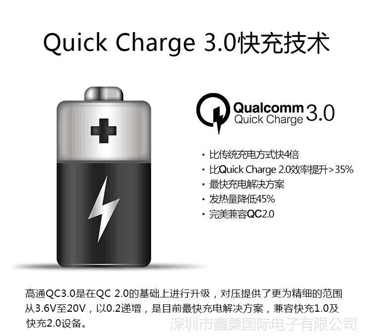 QC3.0快充 6级能效 QC3.0快速充电器