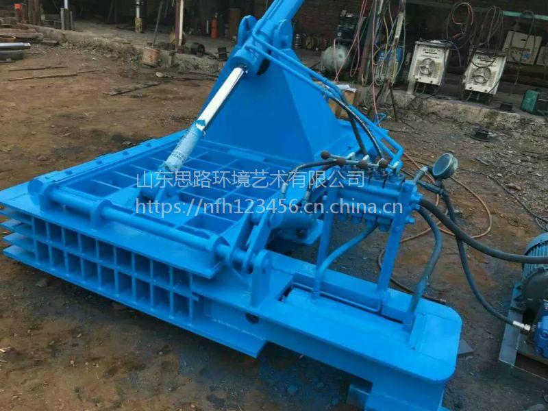 铁屑废钢压块机 油漆桶压扁机 200吨金属压块机参数 山东思路液压机械