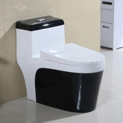 欧式黑色彩金节水双按家用陶瓷马桶座便器