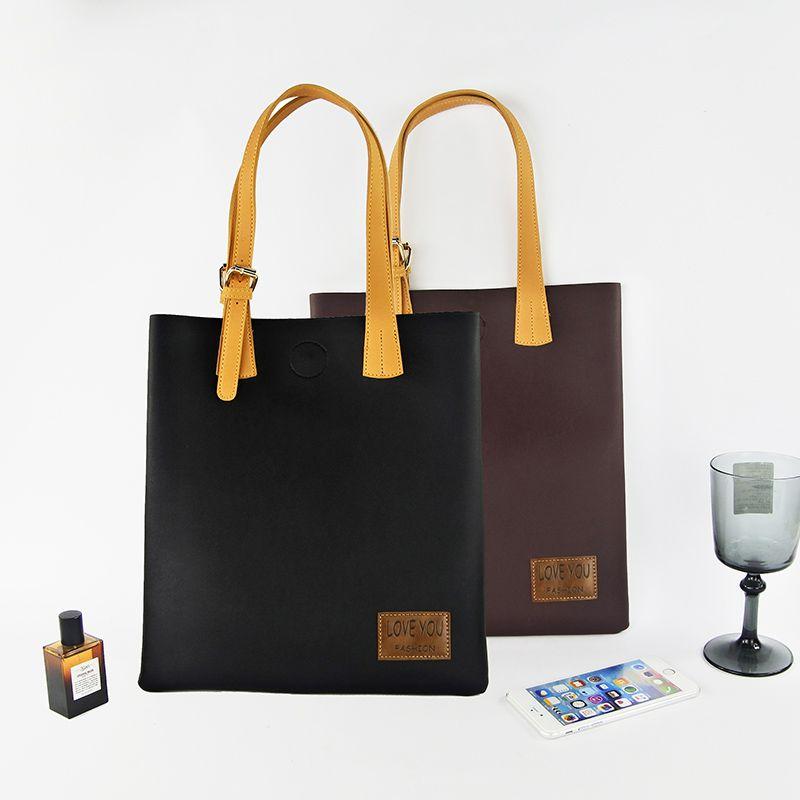 【贴牌加工PU皮购物袋定制logo】深圳手袋厂定做休闲手提袋