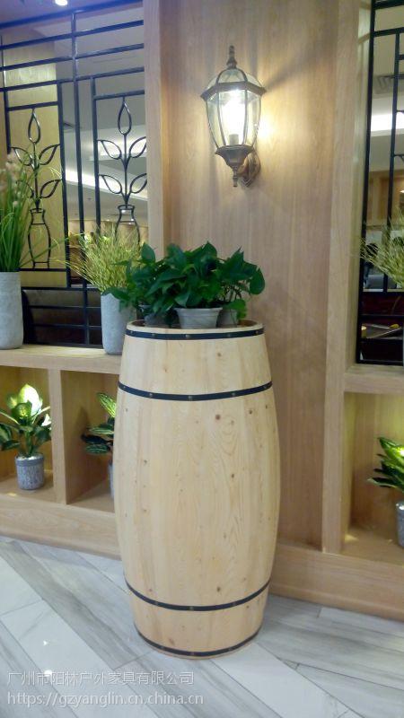 广州市阳林户外家具 木花鼓花箱 楼盘花箱 花箱垃圾桶组合
