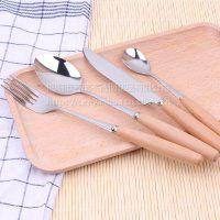 名瑞厂家批发榉木手柄不锈钢刀叉勺餐具 创意木柄刀叉勺可雕刻LOGO