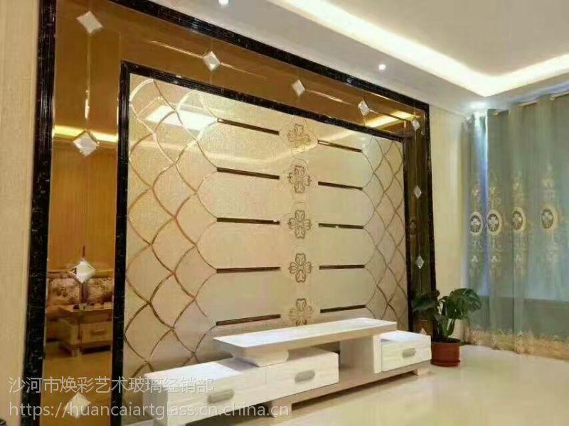 呼和浩特厂家定制灰镜加微晶石拼接时尚造型 电视背景墙拼镜