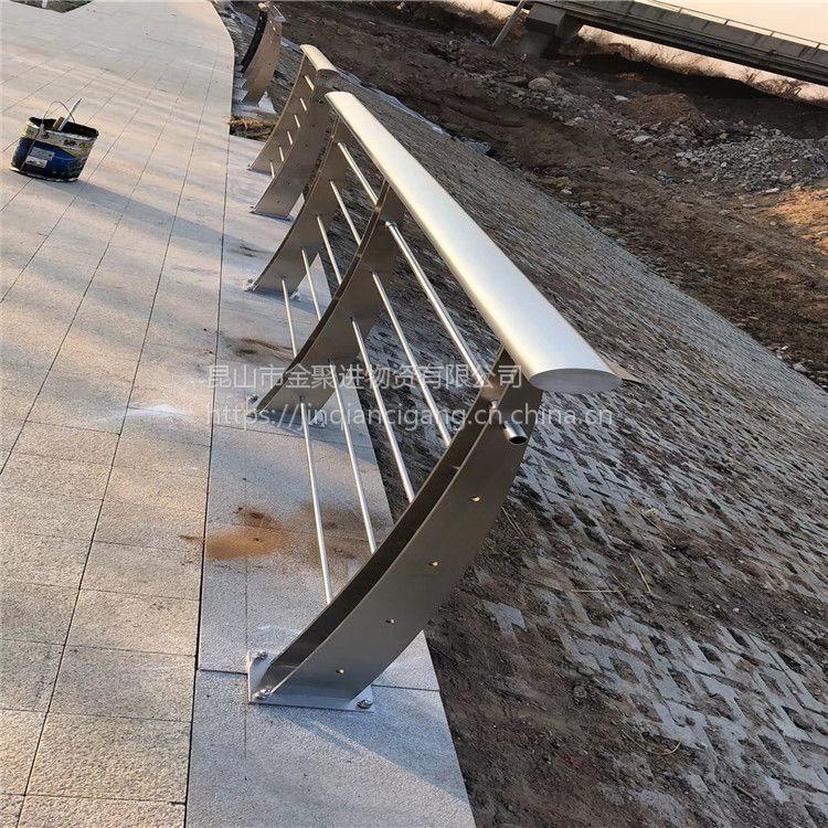 金聚进 定制 不锈钢楼梯扶手护栏栏杆 工程玻璃护栏 阳台不锈钢立柱