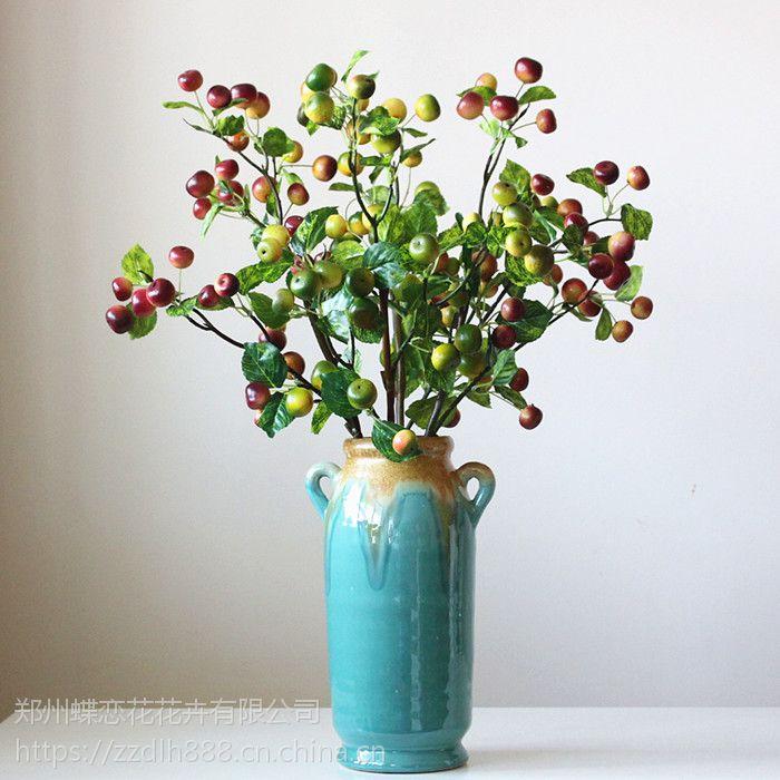 厂家直销仿真绿色小苹果枝 浆果 果子塑料花幸运果 客厅摆件影楼装饰塑料幸运果