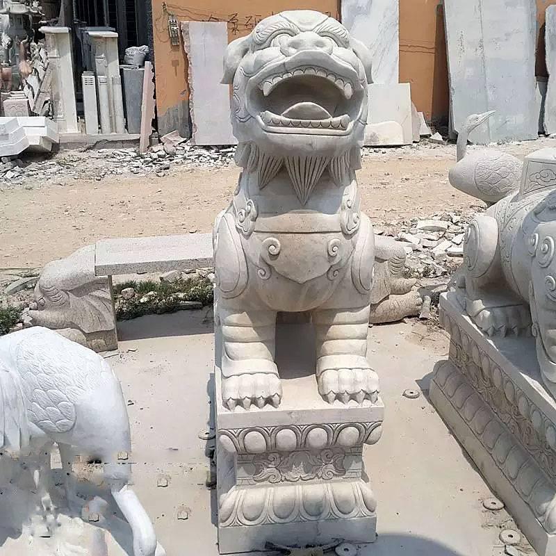 石雕貔貅大理石门口装饰招财貔貅摆件一对曲阳万洋雕刻厂家直销加定做