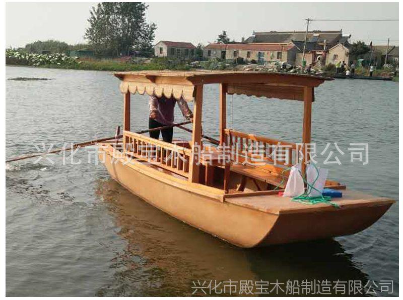 小型观光旅游船摇橹手划船仿古木船画舫船公园景区农庄游船批发