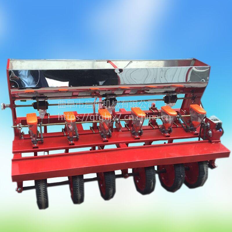 6行桔梗播种机 拖拉机带的谷子播种机 启航蔬菜种子穴播机