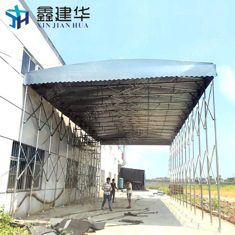 杭州余杭区室外工地施工遮阳活动雨棚电动伸缩帐篷移动雨蓬布制作厂家