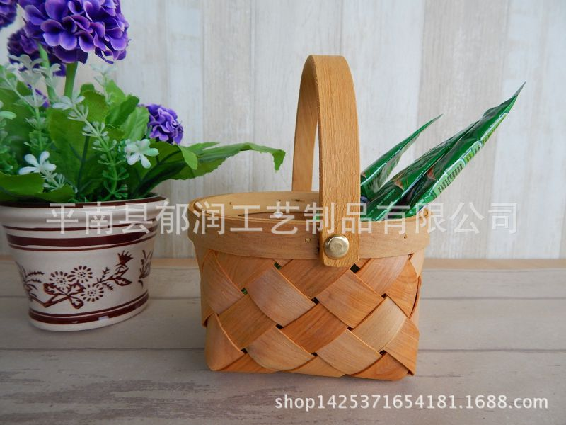篮子出口*背带厂家提篮收纳篮*木男女*手通用木片编织4夹原木图片