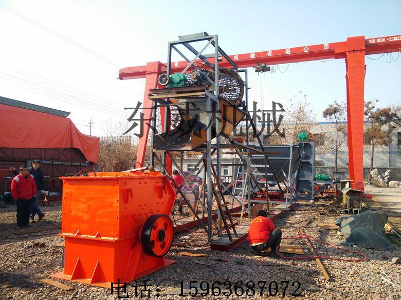 安徽东威设计的复合式筛沙破碎水洗机适用于公路面用料的加工破碎