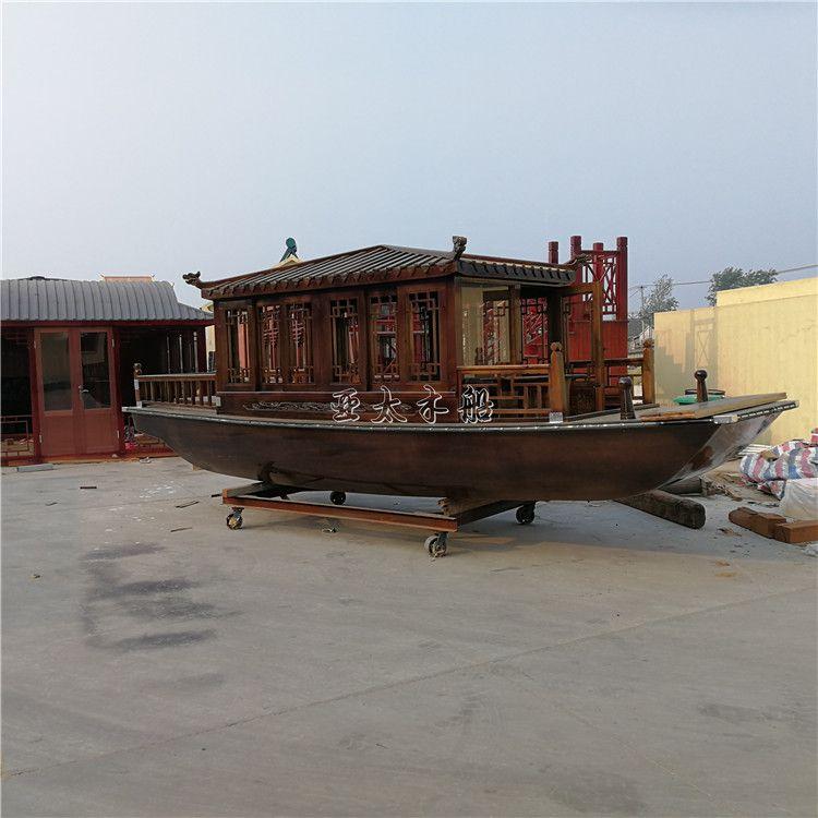 亚太木船厂供应精品单亭小画舫木船木质水上游船景区电动玻璃钢画舫船