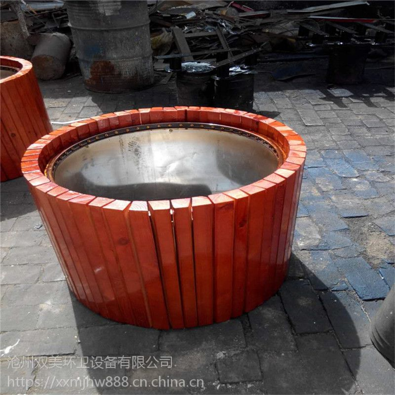 河北厂家专业定制户外花盆木制坐凳花箱花盆防腐木街道隔离花盆种植花池