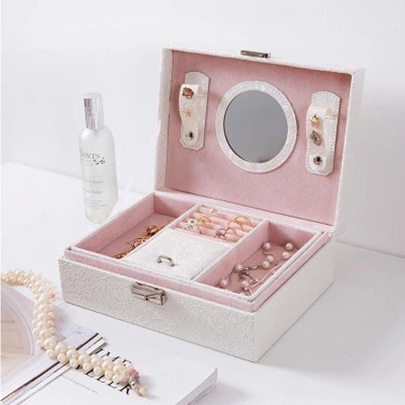 定制多层PU首饰盒绒布带锁珠宝收纳盒 耳环戒指项链盒韩版礼盒
