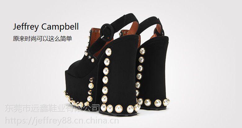 Jeffrey Campbell2018新款黑色绒面珍珠露趾高防水台粗高跟凉鞋