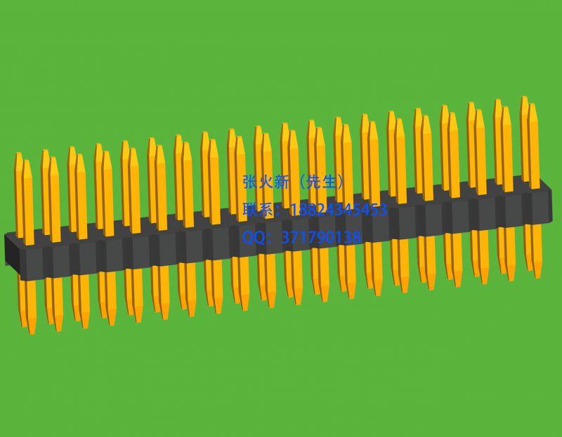 1.27mm间距双排180度直插板排针系列