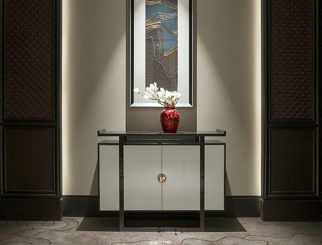 后现代客厅贴金玄关柜装饰柜别墅定制家具