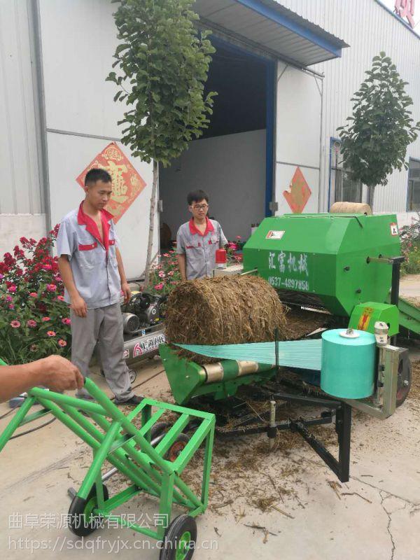 青储秸秆打捆包膜机报价 固定式牧草打包机厂家出厂多少钱