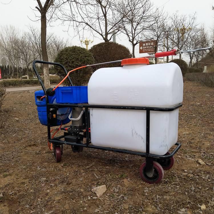 畅销农田拉管式打药车105L大棚电动喷雾器果树高压喷洒机