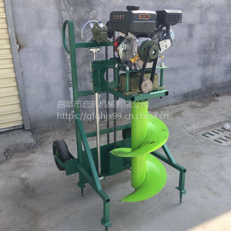 小型汽油地钻机价格 果树施肥挖坑机 启航汽油刨坑机