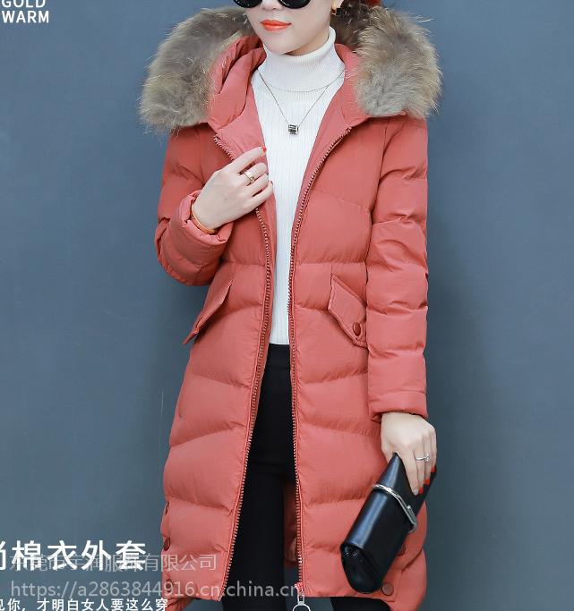 杭州便宜羽绒服韩版中长款女士棉服批发时尚库存尾货棉衣低价清货
